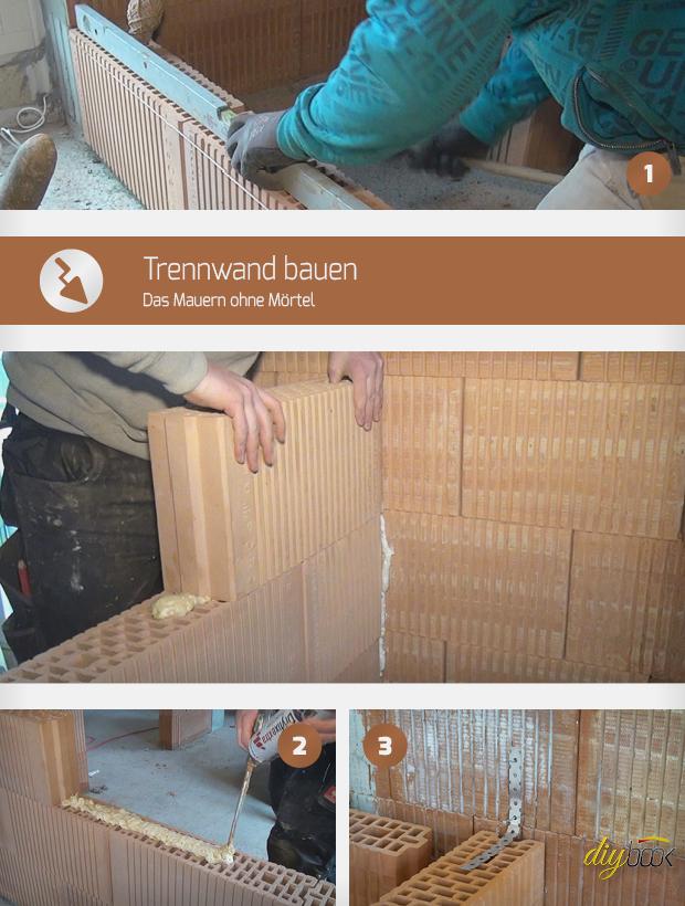 trennwand bauen das mauern ohne m rtel anleitung. Black Bedroom Furniture Sets. Home Design Ideas