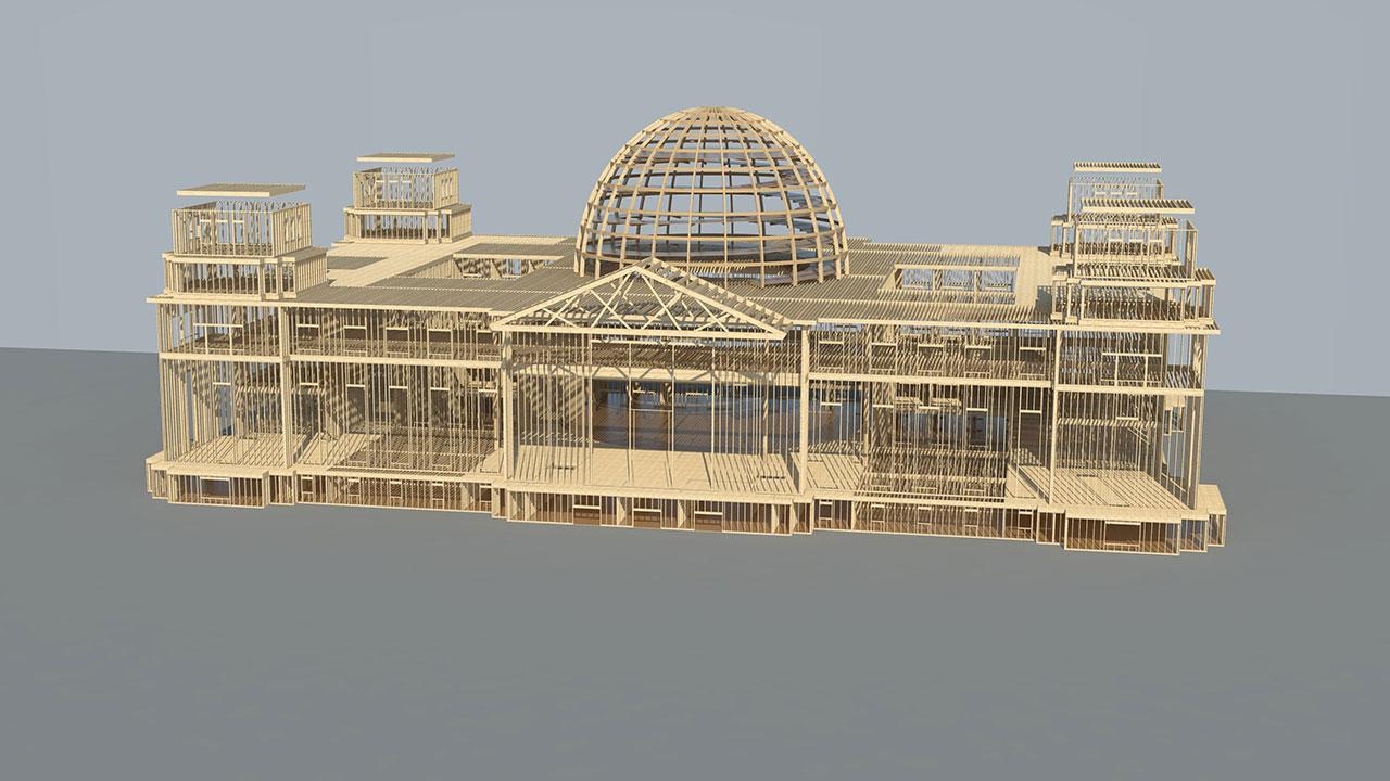 Berliner Reichstagsgebäude aus Holz in Events, Bauen ...