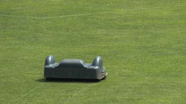 Mähroboter allein auf Fußballfeld