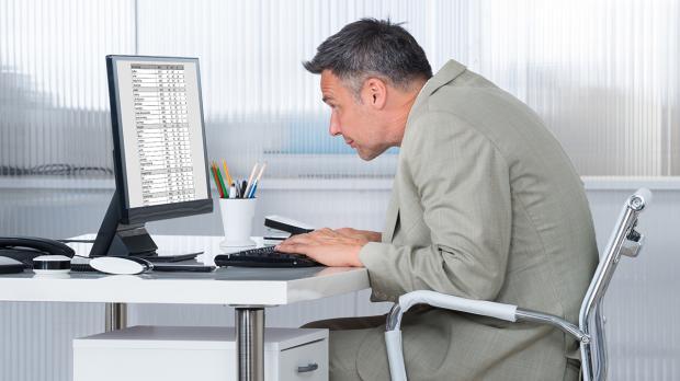 Falsche Haltung am Rechner