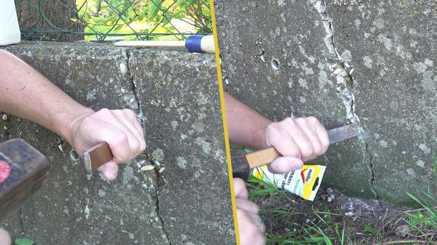 Riss mit Hammer und Meißel erweitern