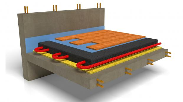 Bodenaufbau Trittschalldämmung mit Fußbodenheizung