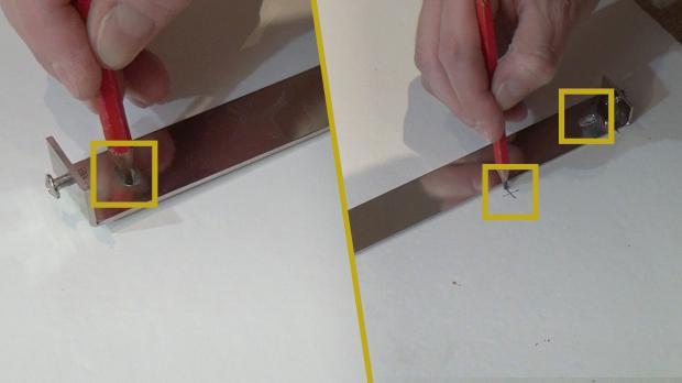 Löcher für Montageplatte anzeichnen