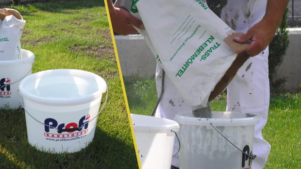 Wasser vorlegen und Klebemörtel dazugeben