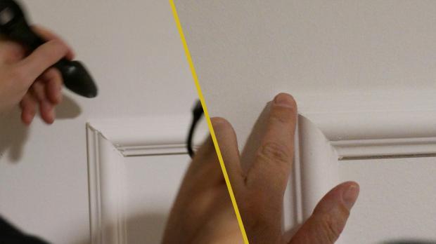 Klebespachtel mit Abziehlöffel und Finger verstreichen