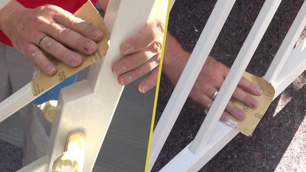 Fertigen Anstrich mit Schleifpapier aufrauen