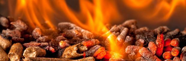 Pellets im Brennkessel